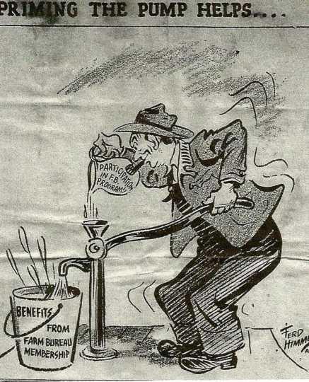 Cartoon supporting the Farm Bureau, 1955.
