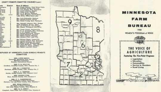 Women's program of work brochure, Minnesota Farm Bureau, 1958.