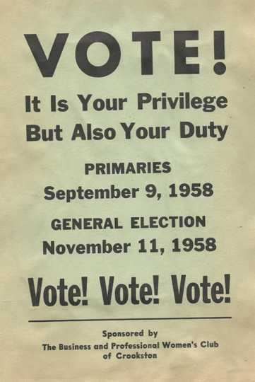 Crookston BPW brochure encouraging women to vote in primary elections on September 9, 1958, and in the general election on November 11, 1958.