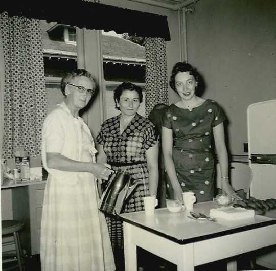 Black and white photograph of Irene Wachter Jobe, Jean Strickler, and Mrs. Robert Wurdan, 1959.