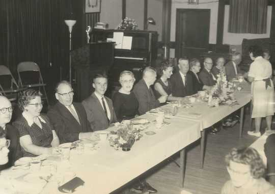 Black and white photograph of BPWC members host employers at an Elks Club banquet on Boss Night, October 1961.