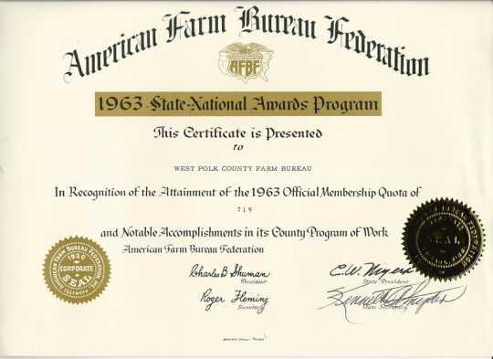 National Farm Bureau certificate recognizing the West Polk County Farm Bureau's 719 members, 1963.