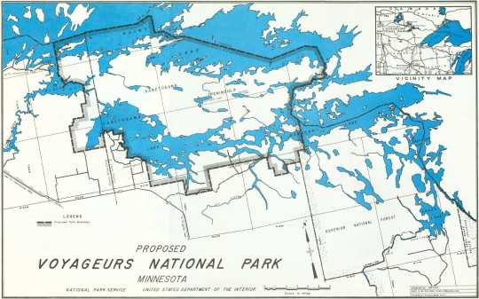 Map of the proposed Voyageurs National Park