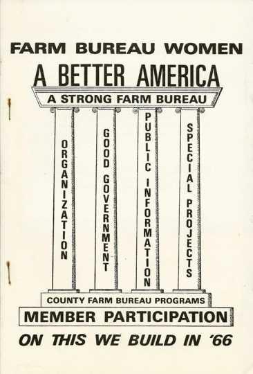 Cover of a pamphlet about the Farm Bureau women's programs, 1966.