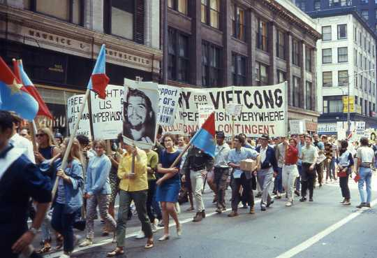 Color image of an anti-war march held in Chicago just before the Democratic National Convention, August 10, 1968.