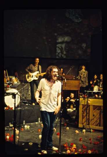 Color photograph of Joe Cocker performing at the opening night of the Depot, April 3, 1970. Photograph by Darrell Brand.