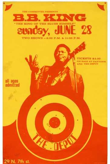 Poster for B. B. King concert at the Depot, June 28, 1970. Courtesy of Mark Freiseis.