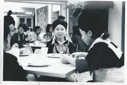 Hmong students at a party, 1976