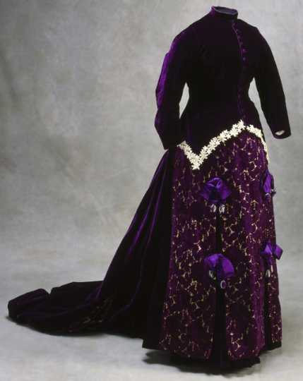 Color image of a royal purple velvet maternity gown worn by Mary T. Hill, c.1880.