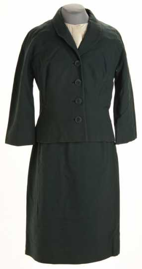 Color image of a Northwest Airlines flight attendant's uniform, designed by Mae Hanauer of New York, c.1965.