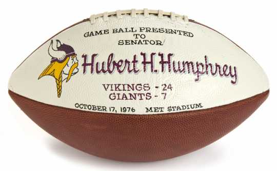 Color image of the Minnesota Vikings game ball presented to Hubert Humphrey, 1976.