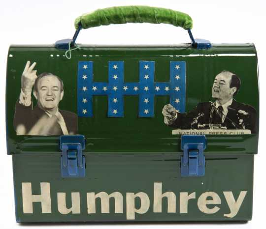 Color image of a lunch box created in support of Hubert H. Humphrey's 1968 presidential campaign.