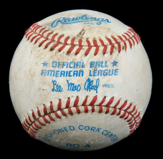 White leather baseball with red stitching used in the last Minnesota Twins game at Metropolitan Stadium on September 30, 1981.