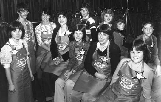 Black and white photograph of contestants in the Junior Division of the Bake-Off Contest in San Antonio, TX, 1982.
