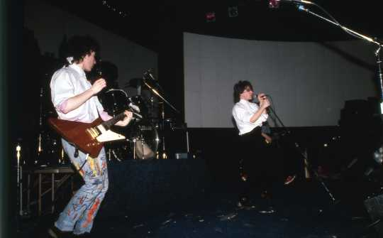 Color image of U2 performing at First Avenue, February 21, 1982. Photograph by Steven Laboe.