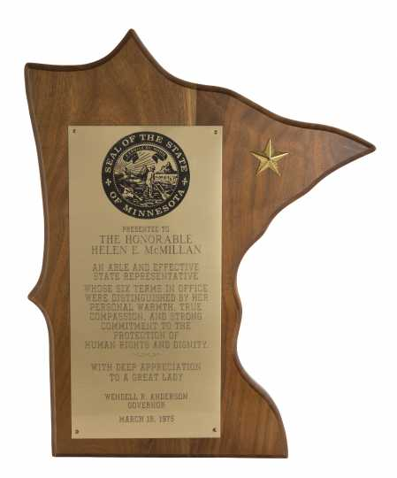 Color image of the plaque that Representative Helen E. McMillan received at her recognition banquet, held on March 18, 1975.