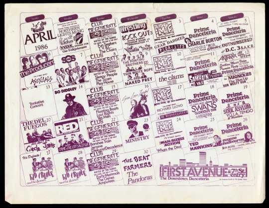 First Avenue calendar from April 1986. Courtesy of Chrissie Dunlap.