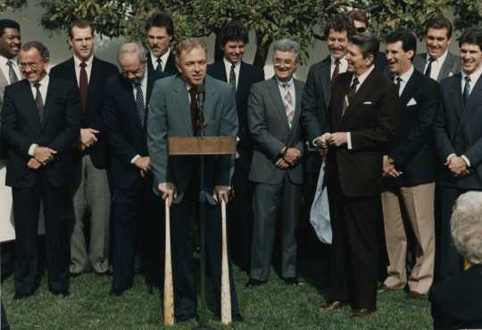 President Ronald Reagan listens to Twins manager Tom Kelly at the congratulatory ceremony at the White House.