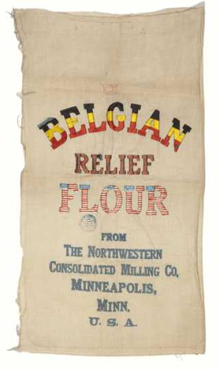 Color image of a decorated Belgian Relief Flour sack, ca. 1914–1918.