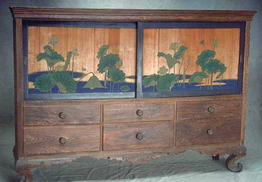 Arts and Crafts cypress cabinet designed by John Scott Bradstreet in 1904.
