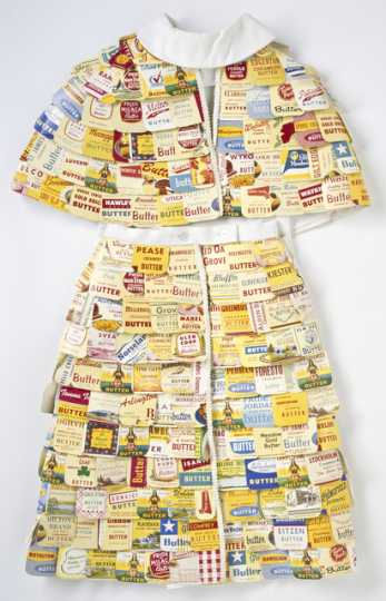 Color photograph of a dress made out of butter cartons used at the Minnesota State Fair, 1965.