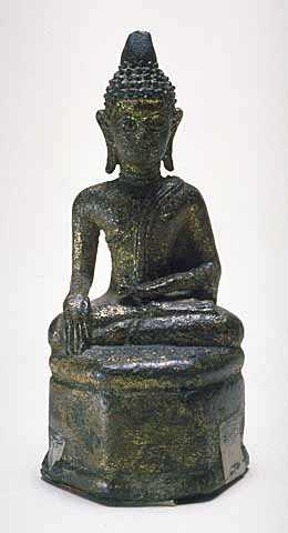 Color image of a Japanese bronze Amida Buddha, undated.