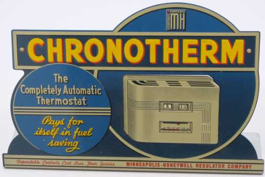Color image of Honeywell Chronotherm counter sign.