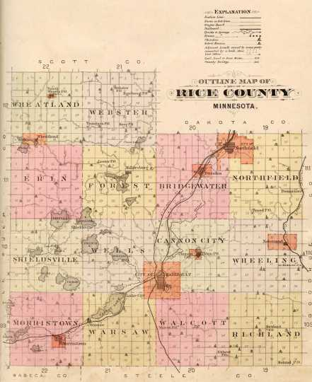 Plat map of Rice County showing the location of Nerstrand, 1900. From the 1900 Rice County plat book.