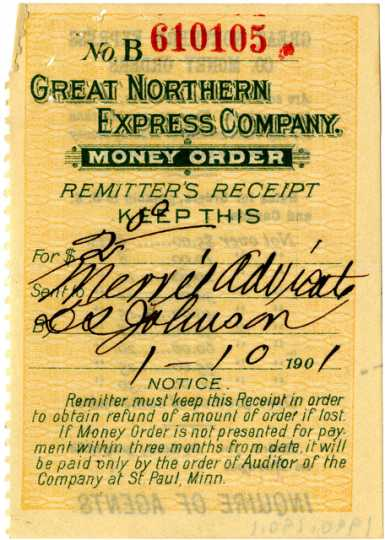 Great Northern Railway Company money order receipt