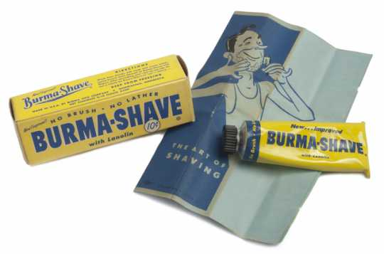 Burma-Shave shaving cream, box, and pamphlet