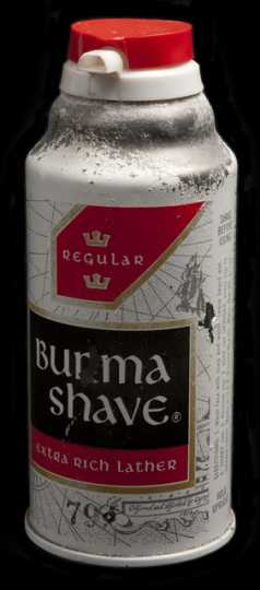 Aerosol can of Burma-Shave shaving cream