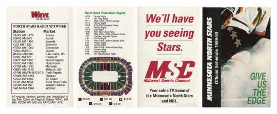 The Minnesota North Stars' schedule for 1989, featuring the radio stations that broadcast games and a seating chart for Met Center home games.