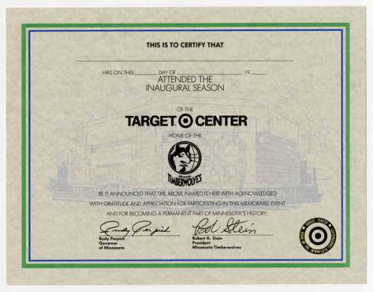Minnesota Timberwolves inaugural season certificate