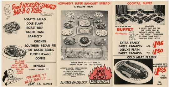 Tri-folded catering menu used in the late 1950s by Oscar Howard's Catering Service.