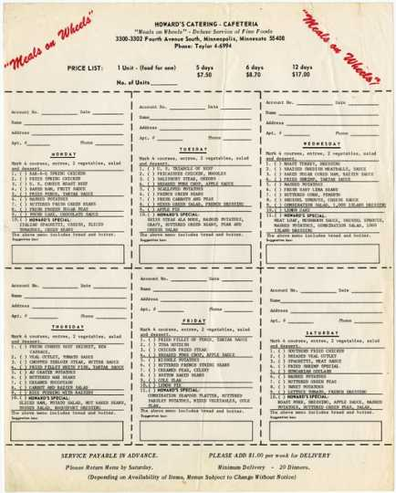 Paper order form used in the late 1960s by customers of Oscar C. Howard's Meals on Wheels food delivery program.