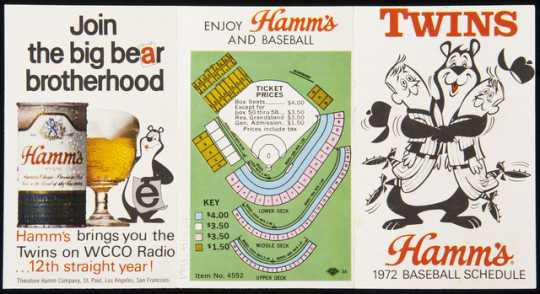 Photograph of a Minnesota Twins schedule advertising Hamm's Beer