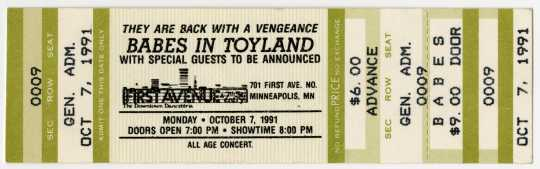 Ticket for Babes in Toyland concert, October 7, 1991.