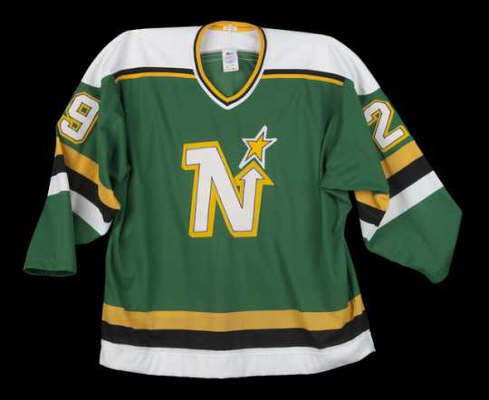 A North Stars jersey from around 1990, during the team's final years in Minnesota.