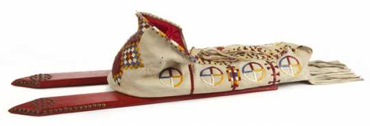 Color image of a cradleboard made by Hope Two Hearts and Galen Drapeau (Isanti and Ihanktonwan Dakota, respectively), c.1980.