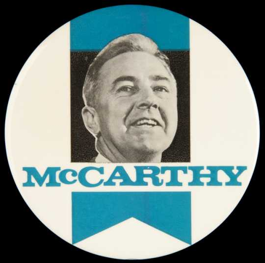 Color image of a presidential campaign button in support of United States Senator from Minnesota, Eugene McCarthy, c.1968.