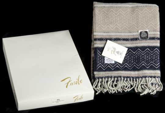 Color image of Faribo brand wool blanket in its original box, woven by Faribault Woolen Mills, 1970.
