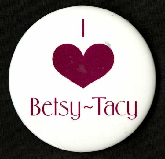 """Color image of a """"I love Betsy-Tacy"""" pinback button, manufacturer unknown, c.1990-1994."""