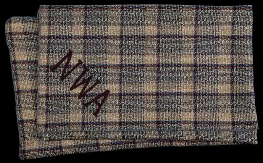 Color imae of a Northwest Airlines in-flight blanket, manufactured by the North Star Woolen Mill, Minneapolis, c.1939.