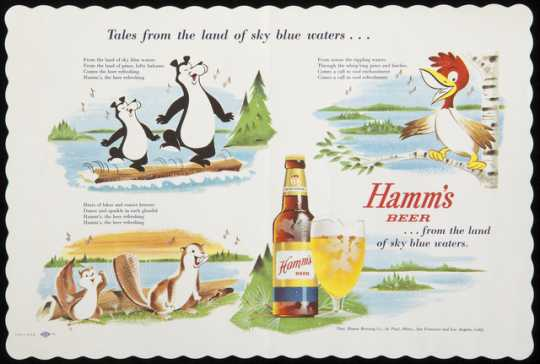 Photograph of a placemat advertising Hamm's Beer