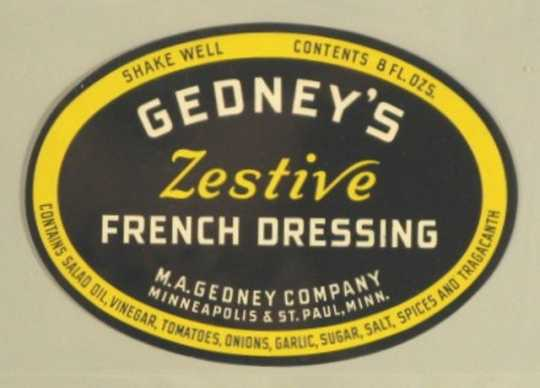 Color label for Gedney Company French Dressing, c.1935.