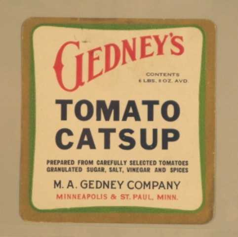 Color image of Gedney's Tomato Catsup label, c.1935.
