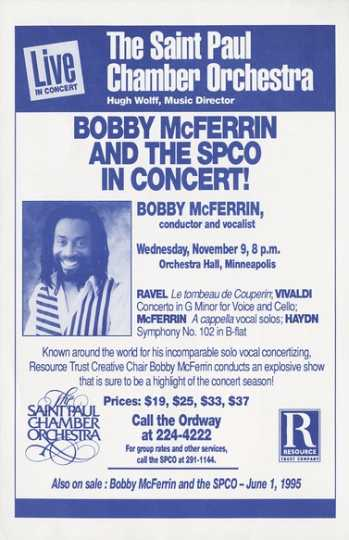 Advertisement for concert featuring Bobby McFerrin and the Saint Paul Chamber Orchestra at Orchestra Hall in Minneapolis, 1994.