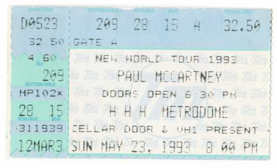 Color image of a Ticket stub for the Paul McCartney World Tour concert at the Hubert H. Humphrey Metrodome, 1993.