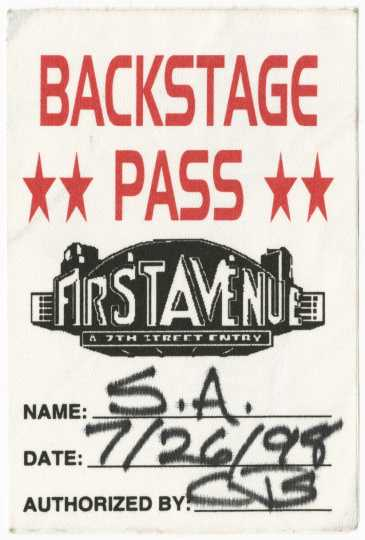 Backstage pass for Soul Asylum concert at First Avenue, July 26, 1998.