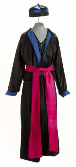 Color image of a Man's Hmong New Year outfit worn by Doua Cheng, c.1999.